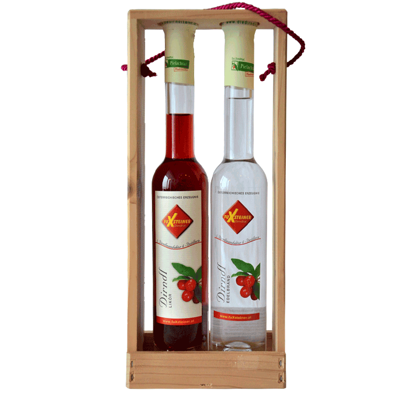 Dirndl-Holztragerl mit Edelbrand und Likör (Nr. 3)