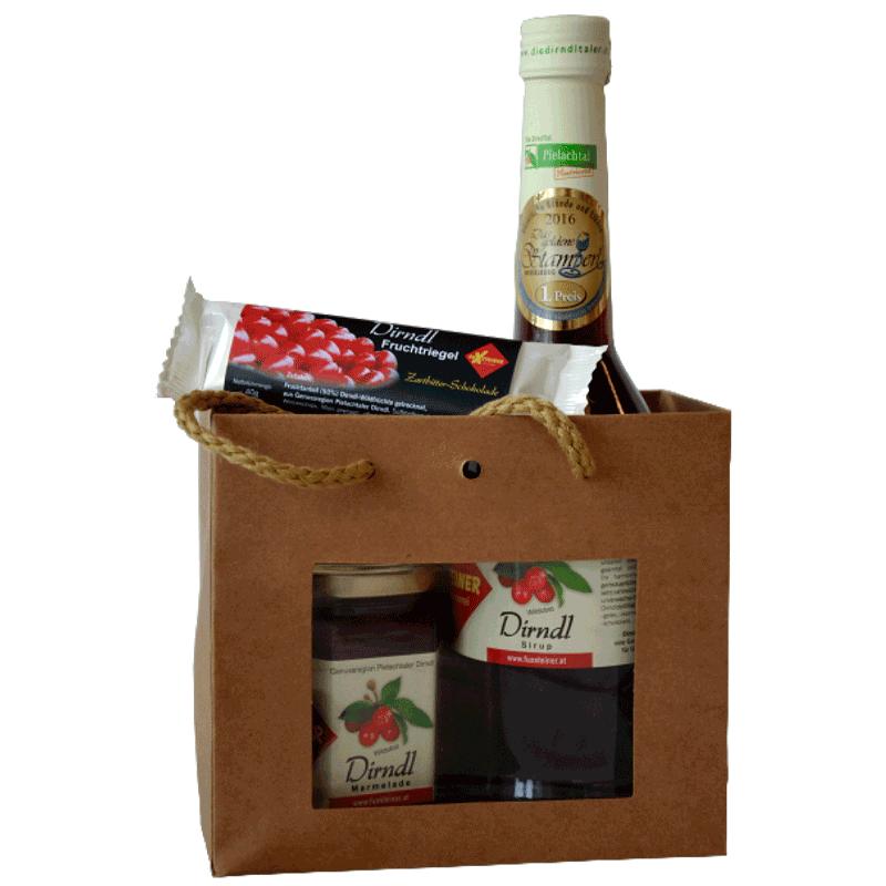 Geschenkvariation Dirndl-Naturtragetasche, alkoholfrei (Nr. 4)