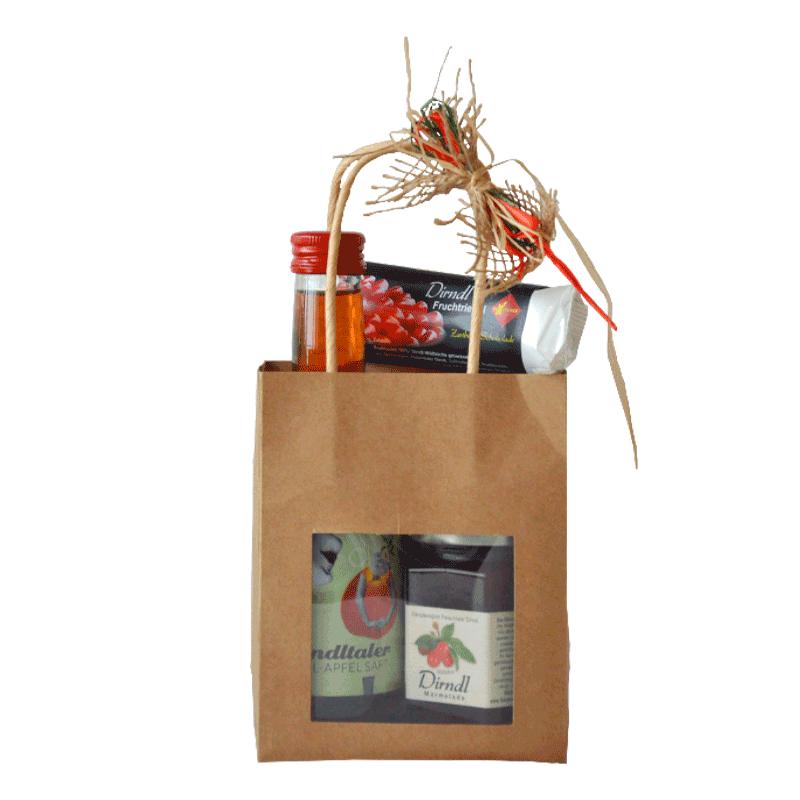 Geschenkvariation Dirndl-Naturtragetasche, alkoholfrei (Nr. 6)